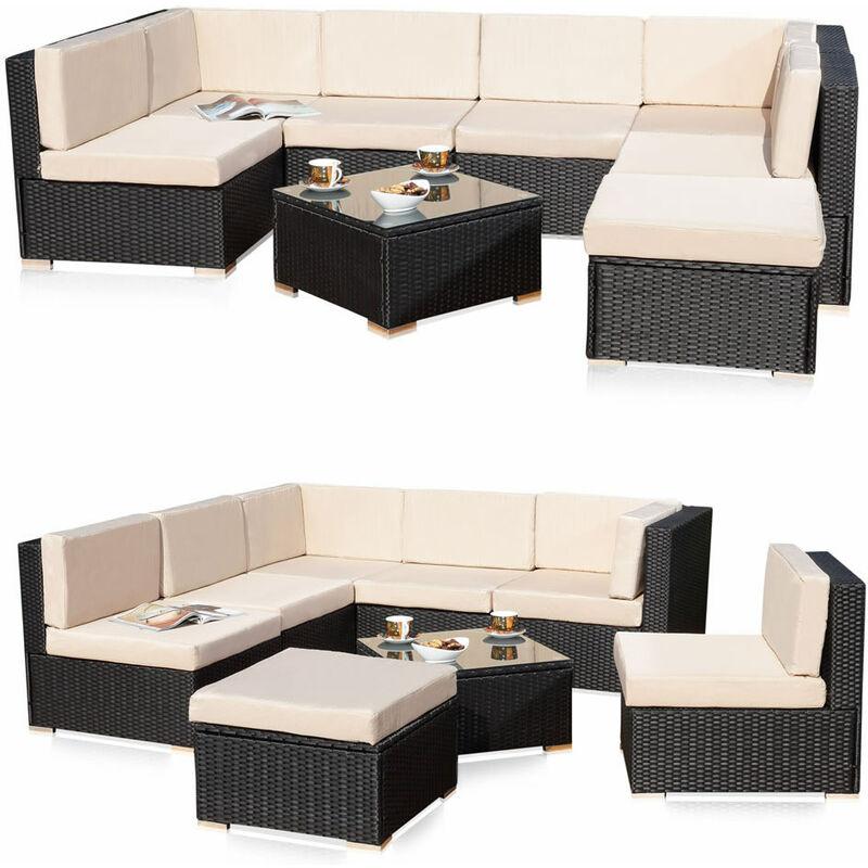 Poly Rattan Sitzgruppe Gartenset Rattanlounge Gartengarnitur Couch-Set Sitzgarnitur mit Schraub-Ausgleich-Standfüße - Melko
