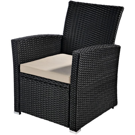 Melko Polyrattan garden chair, weatherproof, incl. seat cushion, black