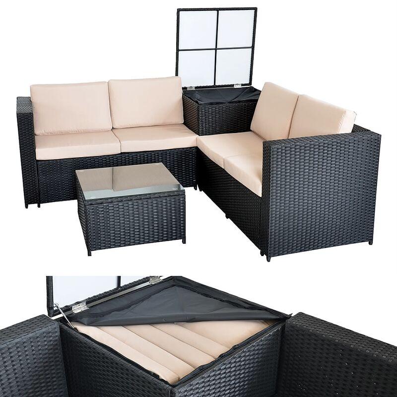 Sitzgruppe Lounge Garten Sofa Schwarz Auflagenbox Polyrattan Gartenmöbel ?? - Melko