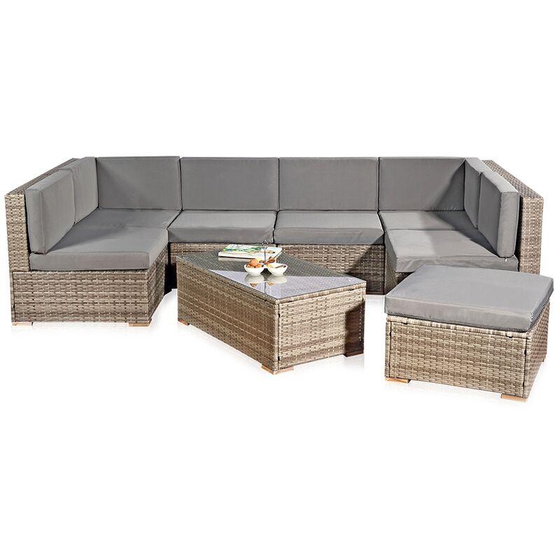 Sitzgarnitur Grau Polyrattan Lounge Möbel Sitzgruppe Gartengarnitur Gartenset ?? - Melko