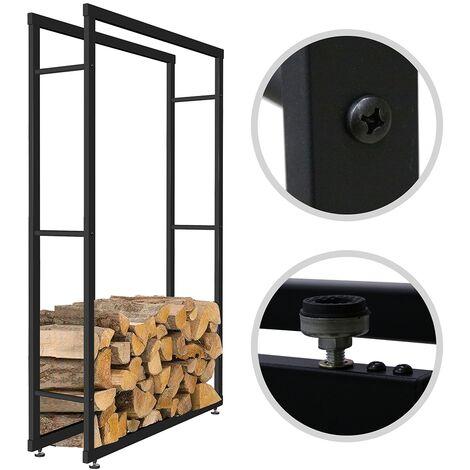 Melko Porte-bûches robuste pour le bois de chauffage et les bûches, support en bois autoportant, en fer, 150 x 80 cm - avec plots en caoutchouc pour la protection du sol