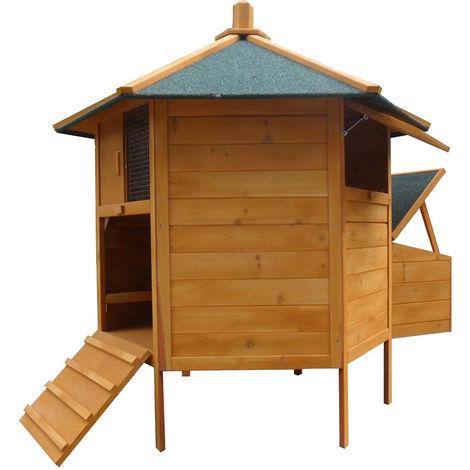 Melko Poulailler Pavillon de volière à 6 coins, en bois, 131 x 125 cm, marron avec feutre de couverture vert, y compris rampe + 2 bâtonnets de poule + nichoir