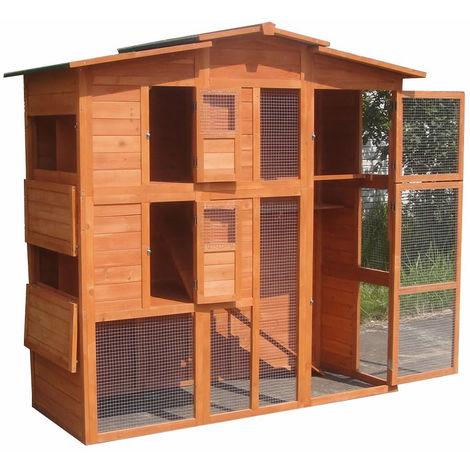 Melko Poulailler XXL avec enclos de plein air, en bois, 171 x 166 x 80 cm, avec 4 places de nidification + porte coulissante