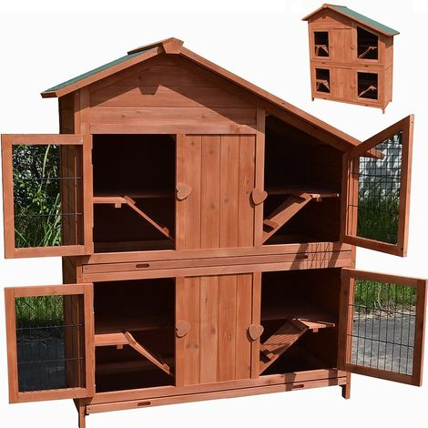 Melko rabbit hutch small animal house 4 floors, 113 x 128 x 55 cm, made of wood, brown, incl. 4 ramps