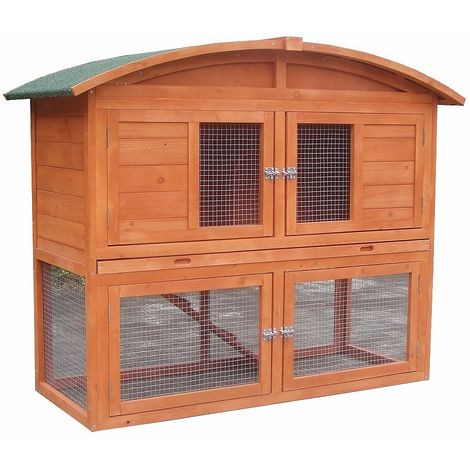 Melko rabbit hutch small animal house with outdoor enclosure, 120 x 56 x 98 cm, made of wood, incl. ramp and round roof