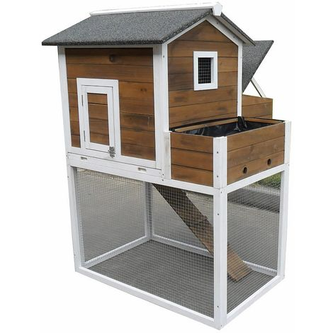Melko rabbit hutch small animal house with outdoor enclosure, 96 x 97 x 129 cm, made of wood, incl. ramp and flower box