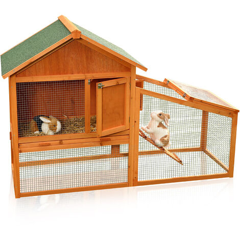 Melko rabbit hutch small animal house with outdoor enclosure, approx. 100 x 145 x 65 cm, made of wood, incl. ramp + drawer, removable roof