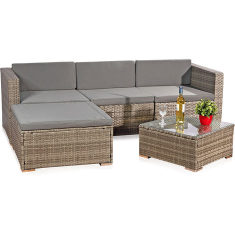 Melko rattan garden furniture set - couch with table, stool and chair, made of polyrattan, weatherproof and robust, corner sofa grey for balcony, garden or terrace