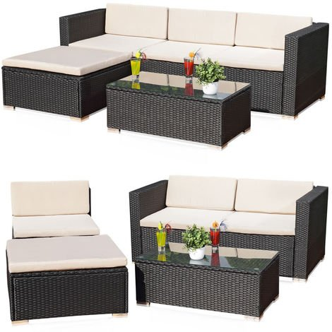 Melko rattan garden furniture set - couch with table, stool and chair, made of polyrattan, weatherproof and robust, garden set black for balcony, garden or terrace