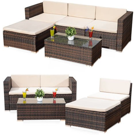 Melko rattan garden furniture set - couch with table, stool and chair, made of polyrattan, weatherproof and robust, garden set for balcony, garden or terrace