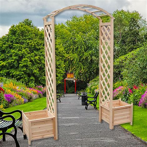 Melko rose arch made of wood climbing aid for climbing plants Pergola Garden arch incl. 2 planters