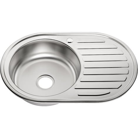 Melko round basin stainless steel sink kitchen stainless steel sink built-in sink incl. drain set and siphon