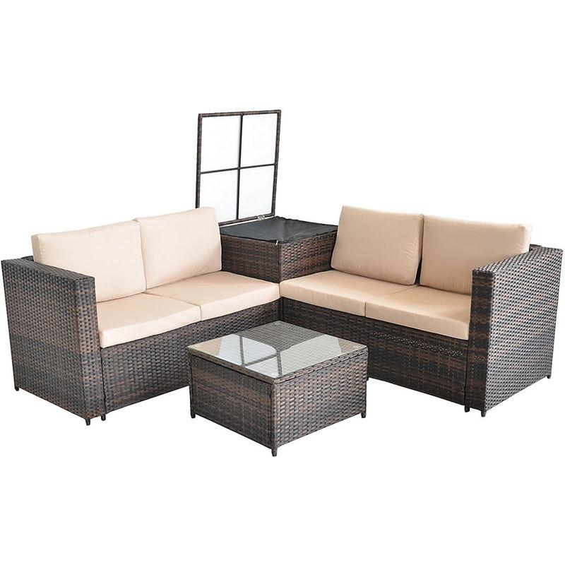 Melko salon de jardin set canapé d'angle avec table en verre et boîte de rangement Polyrattan salon 185x185CM