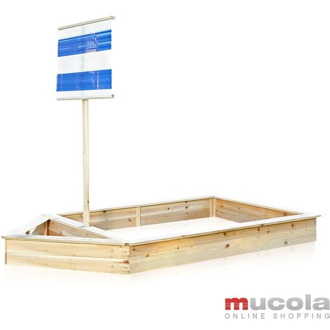 Melko sandbox pirate ship boat with wooden sail,180 x 96 x125 cm, blue, sandbox sandbox