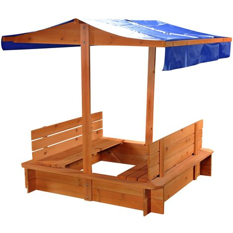 Melko Sandbox Sandbox Sandbox with 2 benches and roof in blue made of spruce wood for children, nature, 120 x 120 x 120 cm