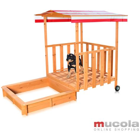 Melko Sandbox Sandbox with cover and sun protection made of wood for children, 182 x 100 x 140, with veranda and railing, roof red white