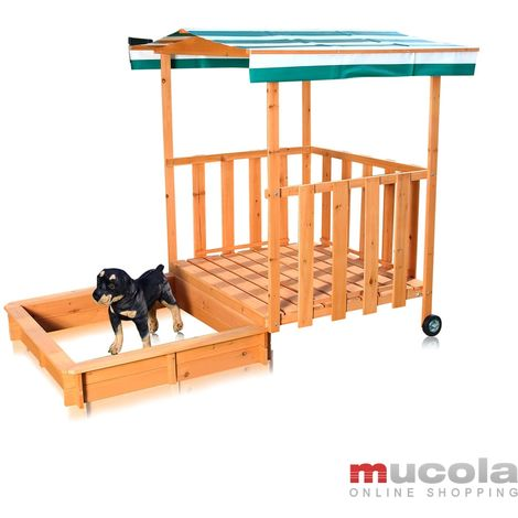 Melko sandbox with play veranda, cover and sun protection for children, made of wood, 182 x 100 x 140, sandbox with railing, roof green white
