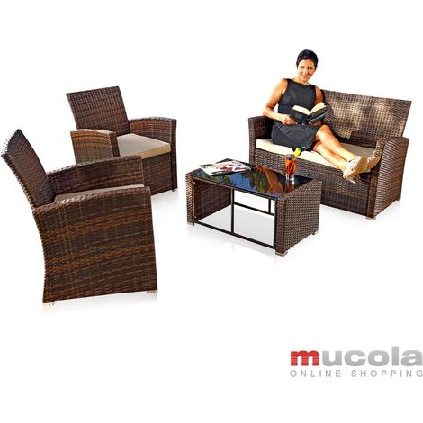 Melko seating group PolyRattan 4 TLG. Brown, Garden furniture Lounge Seating set Dining group, weatherproof Polyrattan, including 6 cm seat covers