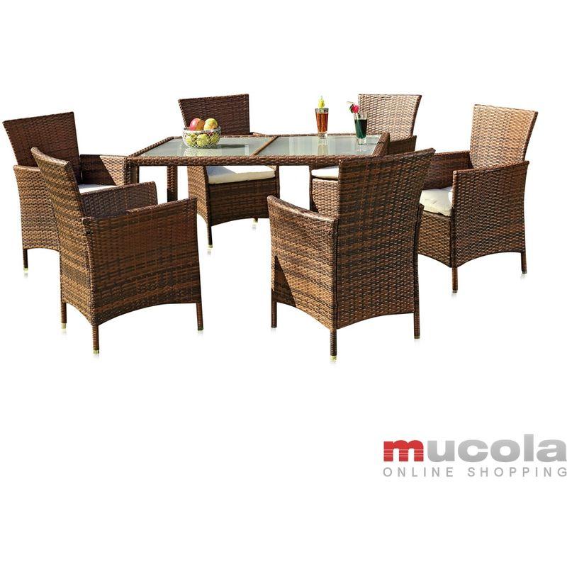 Melko set de table en rotin - set de jardin avec 6 chaises et table de jardin avec plateau en verre set avec rembourrage, groupe de sièges, meubles