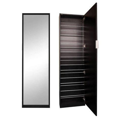 Melko shoe cabinet mirror door black shoe shelf shoe cabinet 180CM wardrobe