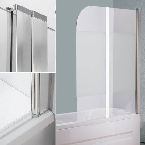 Melko shower enclosure bathtub top made of 5 mm ESG safety glass, foldable, 133 x 108 cm, partially frosted, incl. accessories