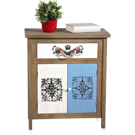 Melko Sideboard Used Look in brown/white 59,8 cm x 70,2 cm x 30 cm (W x H x D)