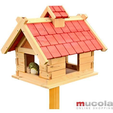 Melko Silo de nourriture pour oiseaux de la villa Melko, 44 x 34 x 37 cm, en bois, avec feutre de couverture rouge