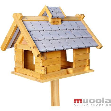 Melko Silo de nourriture pour oiseaux de la villa Melko, 44 x 34 x 37 cm, en bois, avec un toit en feutre gris