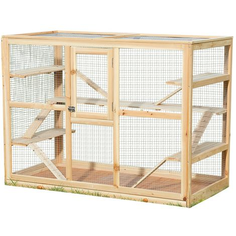 Melko small animal cage made of wood, 120 x 60 x 90 cm, including 6 ramps,rodent villa hamster cage mouse cage