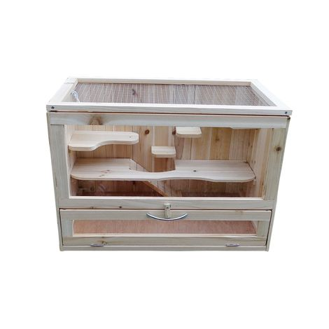 Melko small animal cage made of wood, 60 x 35 x 42 cm, including foldable ramp, 5 floors, rodent villa hamster cage mouse cage