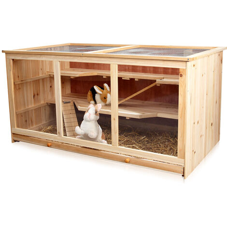 Melko small animal cage rodent villa hamster cage mouse cage made of wood, 117 x 63 x 58 cm, including 2 ramps, 3 floors