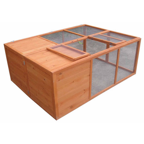 Melko small animal stable Folding rabbit hutch Free-range enclosure approx. 160 x 119 x 60 cm, made of wood, brown