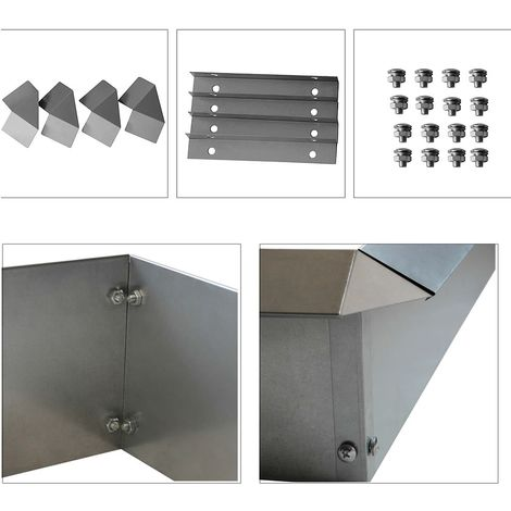 Melko Snail Fence Snail Guard Bed border complete set of galvanized steel, 4 pieces 100 x 20 cm, incl. 4 corners + screws