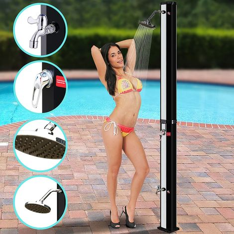 Melko solar shower 220 x 16,5 x 16,5 cm garden shower silver pool shower outdoor shower camping shower