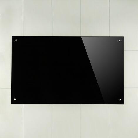 Melko Spritzschutz Herdblende aus Glas, für Küche, Herd, Fliesen, 6 mm ESG Sicherheitsglas, Küchenrückwand, inkl. Schrauben, 120 x 60 cm, Schwarz
