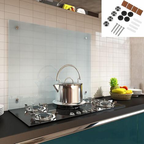 Melko Spritzschutz Herdblende aus Glas, für Küche, Herd, Fliesen, 6 mm ESG Sicherheitsglas, Küchenrückwand, inkl. Schrauben, 70 x 40 cm, Milchglas