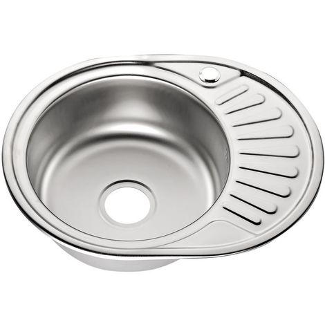 Melko stainless steel built-in sink single basin kitchen sink round sink kitchen sink incl. drain set and siphon
