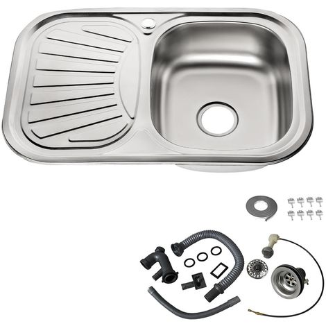 Melko stainless steel sink Stainless steel kitchen sink Kitchen sink incl. drain set and siphon