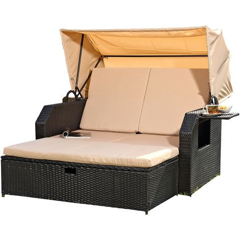 Melko sun bed/beach chair/lounge made of polyrattan, black, incl. folding side table +adjustable backrest + folding sunshade