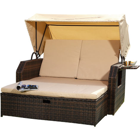 Melko sun bed/beach chair/lounge made of polyrattan, brown, incl. folding side table +adjustable backrest + folding sunshade