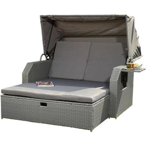 Melko sun bed/beach chair/lounge made of polyrattan, grey, incl. folding side table +adjustable backrest + folding sunshade