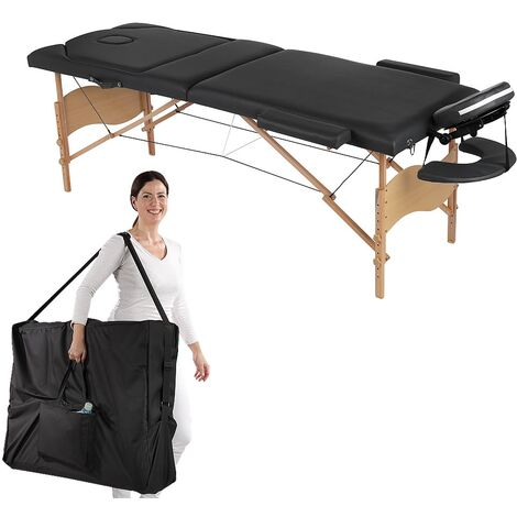 Melko Table de massage pliable et réglable en hauteur Table de massage 3 zones Lits de massage portables en cuir PU de première qualité, noir