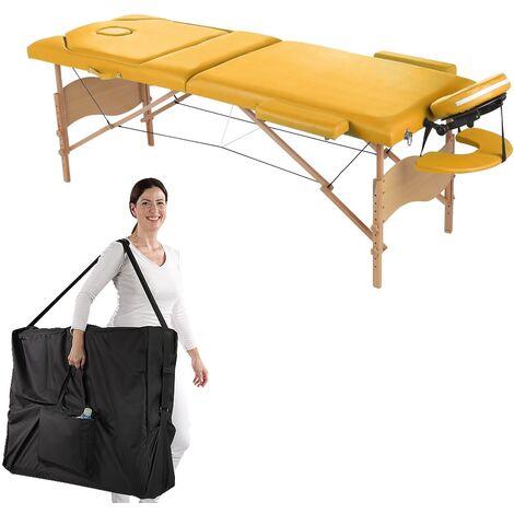 Melko Table de massage Profi 3 zones en bois, pliable et réglable en hauteur, jaune - avec housse de protection