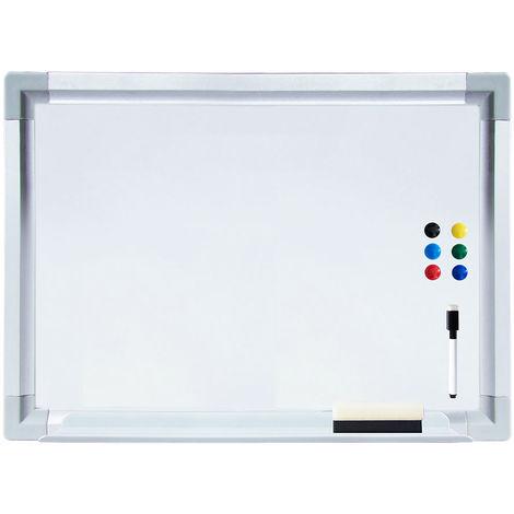 Melko Tableau de présentation écrit Tableau magnétique 50 x 35 cm Tableau blanc en aluminium blanc