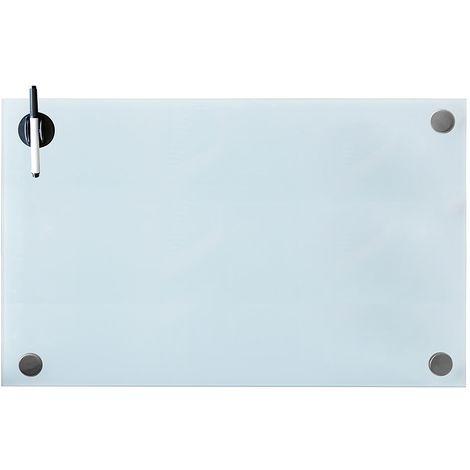 Melko Tableau magnétique en verre Melko, tableau blanc, tableau en verre, tableau magnétique, tableau d'affichage, 100 x 60 x 0,4 cm, blanc
