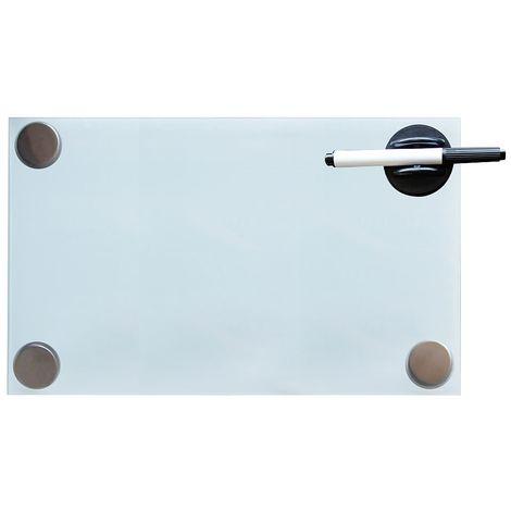 Melko Tableau magnétique en verre Melko, tableau blanc, tableau en verre, tableau magnétique, tableau d'affichage, 30 x 50 x 0,4 cm, blanc