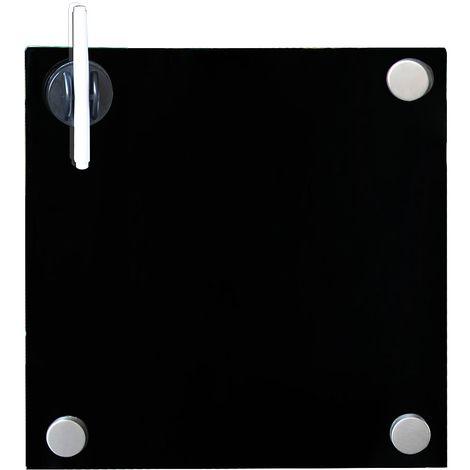 Melko Tableau magnétique en verre Melko, tableau blanc, tableau en verre, tableau magnétique, tableau d'affichage, 45 x 45 x 0,4 cm, noir