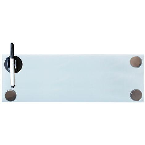 Melko Tableau magnétique en verre Melko, tableau blanc, tableau en verre, tableau magnétique, tableau d'affichage, 60 x 20 x 0,4 cm, blanc