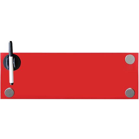 Melko Tableau magnétique en verre Melko, tableau blanc, tableau en verre, tableau magnétique, tableau d'affichage, 60 x 20 x 0,4 cm, rouge