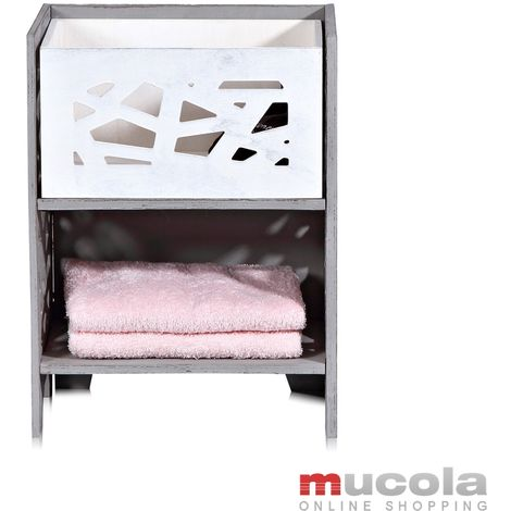 Melko tall cabinet incl. 1 drawer in Shabby Chic grey, 44x33x25 cm wood